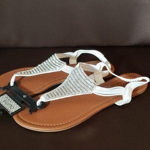 White and rhinestone sandals
